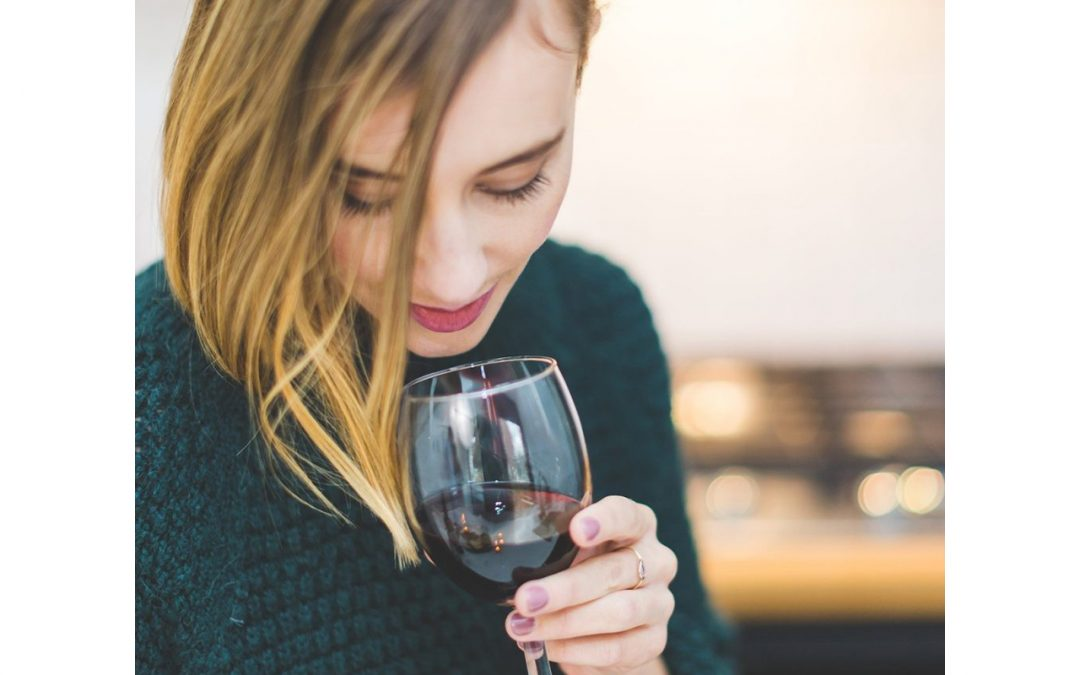 woman drinking natural wine